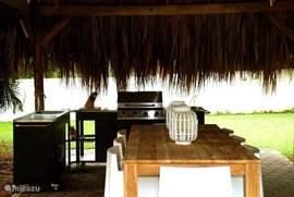 Buitenkeuken die is voorzien van een grote gasbarbeque, extra pitten, spoelbak en werkblad om een groot gezelschap van een goede avondmaaltijd te voorzien.