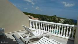 Roof terrace on second floor, accessible via Superior Master Bedroom with two beds and great views over the Caribbean Sea.