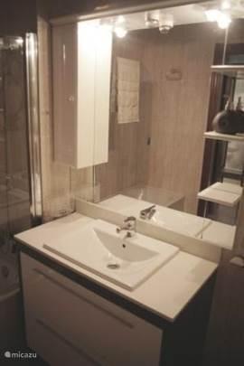 De grote badkamer heeft een ligbad met douche, wastafel met ruime onderkast, toilet en bidet.
