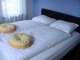 Schlafzimmer im Erdgeschoss mit 2 Doppelschlafcouch.