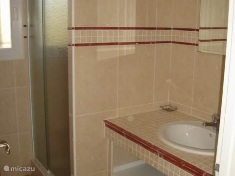 Badkamer beneden met wastafel en ruime douche.