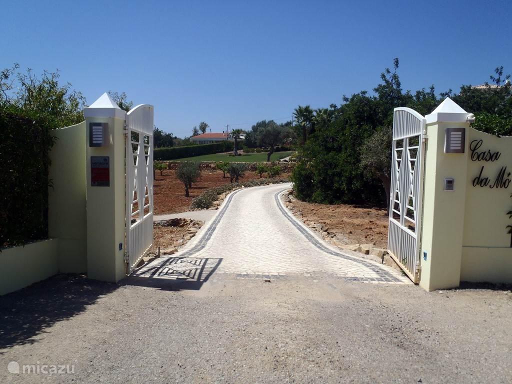 Het toegangshek met daarachter de oprijlaan naar Casa da Mó. Het hek wordt elektrisch geopend met een afstandsbediening. De villa is gelegen aan een asfaltweg op 1 Km van Pechão, u kunt lopen naar dit typisch Portugese dorpje en kennis maken met de vriendelijke bevolking, de barretjes en eettentjes.