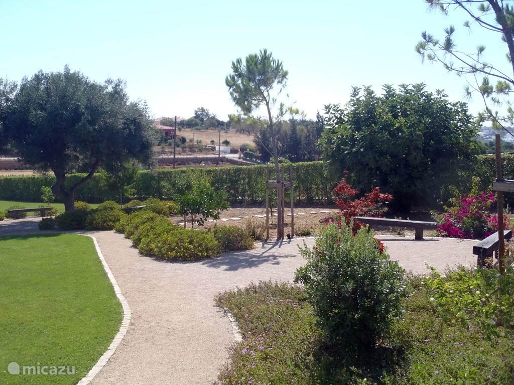 Zitplaatsen in de tuin met uitzicht over de vallei en tuin. Heerlijk om een kop koffie of een drankje te drinken.