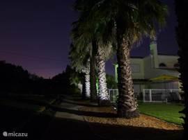 's Avonds ontstaat er een betoverend beeld als automatisch de tuinverlichting aangaat.  Alle palmen en bomen zijn uitgelicht en zorgen voor een zeer bijzondere sfeer.  Boven u de sterrenhemel en om u heen de hemel op aard. Een lekker glas na het eten heeft nog nooit zo goed gesmaakt.