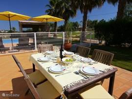 Het tweede terras, aan de zijkant van het huis. U kijkt hier naar het zwembad, loungebar en tuin en geniet van de ruisende palmen.