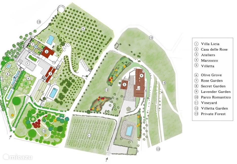 Plattegrond van het landgoed Villa Licia