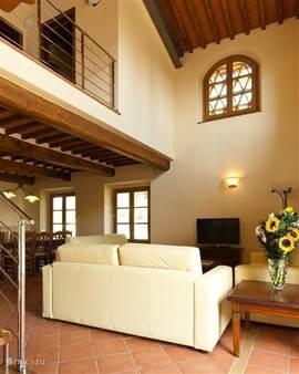 Zeer lichte living met hoge vide en veel ramen.   2 openslaande deuren naar groot tuin-terras met meubilair en parasol. Binnen en buiten WIFI ( gratis) voor uw laptop of tablet en mobile phone