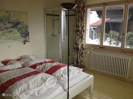 Slaapkamer met eigen douche en wastafel.