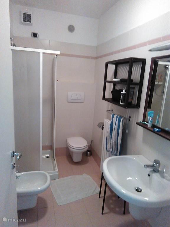 De badkamer met douche,toilet en grote wastafel. daarnaast hebben we nog een aparte toilet met een grote wastafel