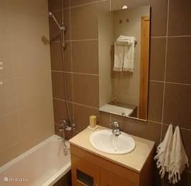 Badkamer van de hoofdslaapkamer met ligbad,wastafel,toilet en bidet.