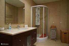 De grote badkamer met wc, bidet en massagedouche.