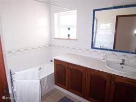 Tweede badkamer op de begane grond, met toilet, bad, douche en wastafel