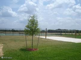 Naast het clubhuis: tennisbanen en beachvolleybal-veld
