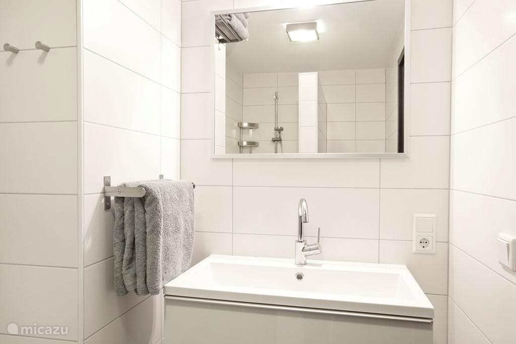 Appartement A badkamer met wastafel.
