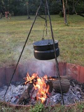 Preparing Pörkölt in a kettle above open fire. Delicious and fun!