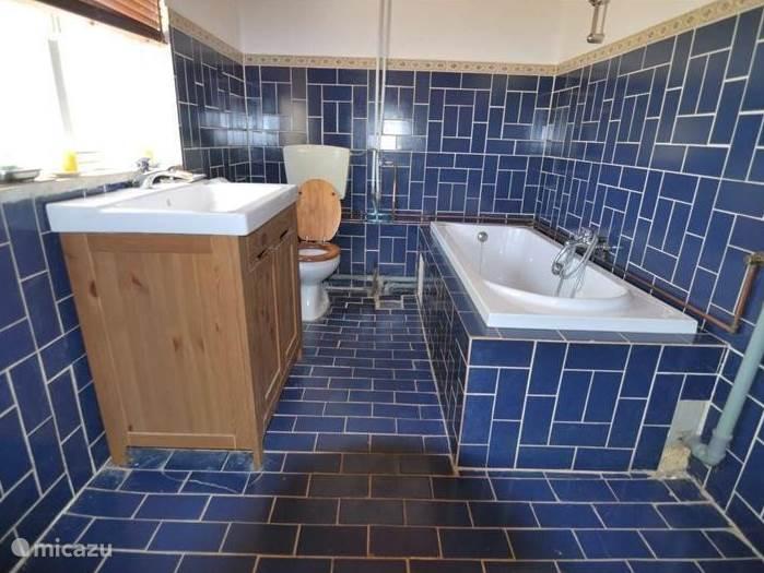 Badkamer 1 met ligbad, toilet en wastafel met koud en warm water.