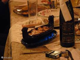 A typical Bulgarian meal in a gondola scale, with spirit lit to additional heating.