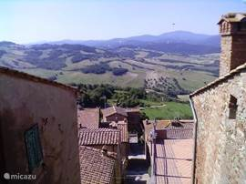 Uitzicht vanuit Radicondoli over het omliggende landschap.