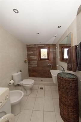 De tweede badkamer (met daarbij een wasmachine). Villa 1