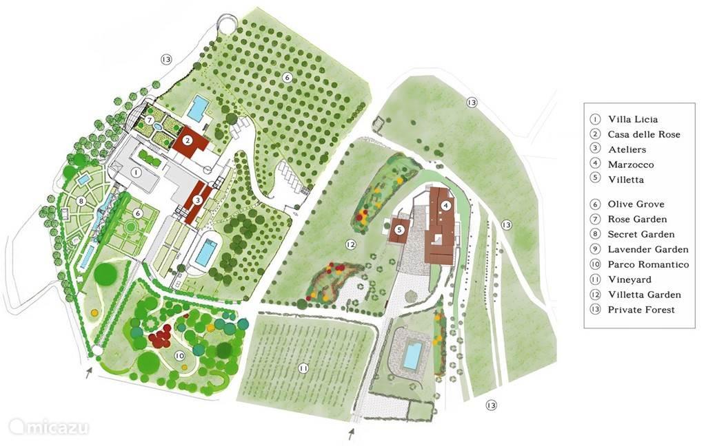 Plattegrond van ons landgoed Villa Licia zie ook onze site www.villalicia.com met alle fotos en beschrijvingen van onze accomodaties, klassieke tuinen en kunst.