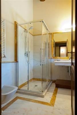 Badkamers zijn uitgerust met douche of ligbad, toilet en bidet. Fijne ruime wastafels.