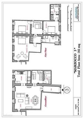 een plattegrond van Marzocco 3 Slaapkamers zijn op de 1e verdieping