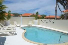 The pool by day with sun loungers on the pool deck
