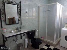 The spacious bathroom of the master bedroom with a washing machine