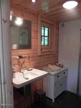 Badkamer, wastafel en kastje