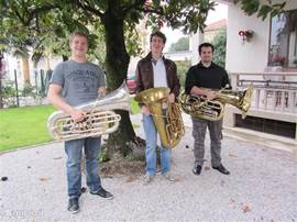 the tuba lovers in the enclosed garden