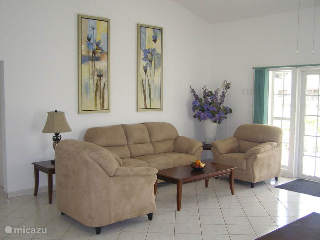The living room has a seating area with TV and DVD player.