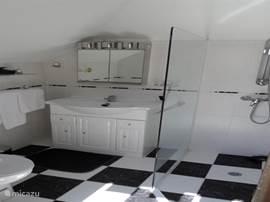 De doucheruimte op het dakterras, waarin ook een toilet.