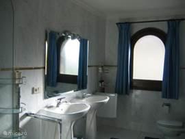 Badkamer bij slaapkamer 1 met ligbad/douche en dubbele wastafel en toilet
