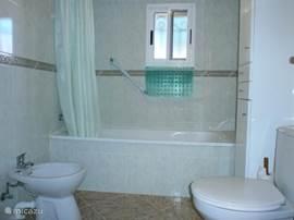 De badkamer is zo goed als nieuw, met wastafel, spiegel en bijhorende verlichting