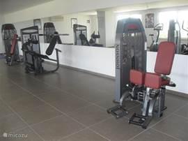 en de volledig uitgeruste fitnessruimte.