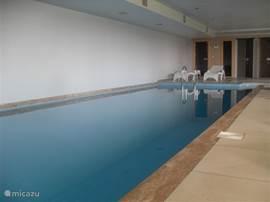 en het overdekt en verwarmd zwembad met jacuzzi. Op de achtergrond krijgt u een mooi overzicht van de ruimten voor sauna en stoombad (eveneens gratis te gebruiken).