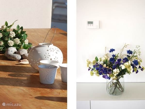 De bloemen in en om het huis geven de villa veel gezelligheid