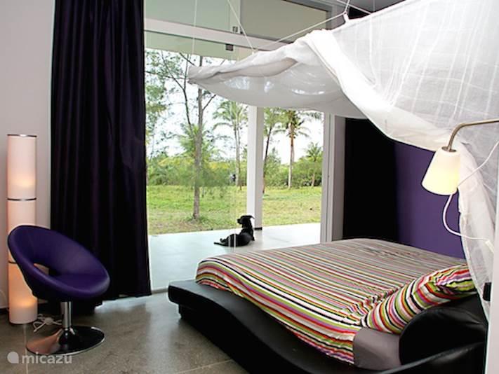 De Master suite compleet ingericht met kingsize XL bed, airco en inloopkast.