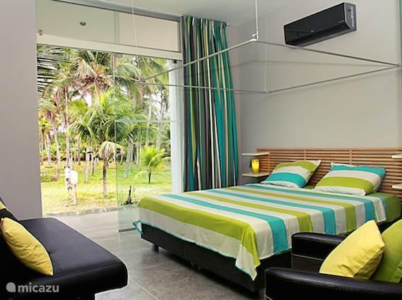 De groene kamer. Sfeervol, uitzicht op de tuin met airco, kledingkast en sofabed
