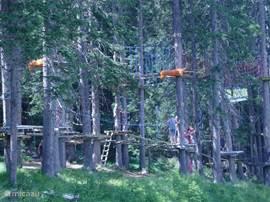 Adventure park met klauteren tussen de bomen en boogschieten, gelegen tegenover het appartement.