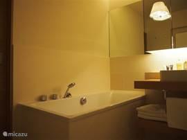 De badkamer beschikt over een ligbad en heeft indirecte sfeerverlichting.