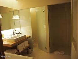 De badkamer beschikt over vloerverwarming en is voorzien van een ligbad, een aparte ruime doucheruimte met stortdouche en een apart toilet.