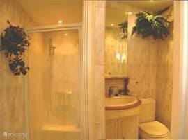Badkamer met een heerlijke ruime douchecabine