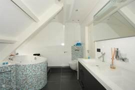 Moderne badkamer met groot bubbelbad stortdouche, sunshower, dubbele wastafel en toilet.