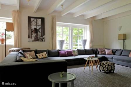 Huge seating area with TV and fireplace