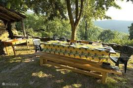 The large table in the shade of the big walnut tree overlooking the valley