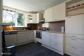 Goed geoutilleerde keuken, voorzien van afwasmachine, oven/magnetron, koelkast en afzuigkap.