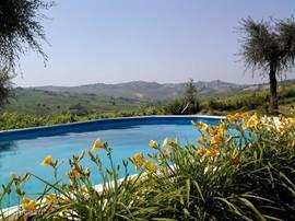 Privé verwarmd zwembad met uitzicht