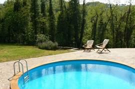 Het ronde zwembad met teakhouten omlijsting