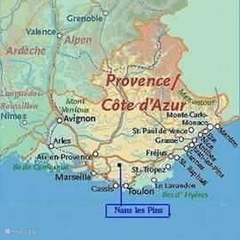 De situering van Nans les Pins in de Provence